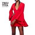 Yikuyiya nueva moda primavera dress 2017 mujeres flare manga v-cuello de la alta cintura sólido sólido atractivo delgado ocasional de bodycon mini dress