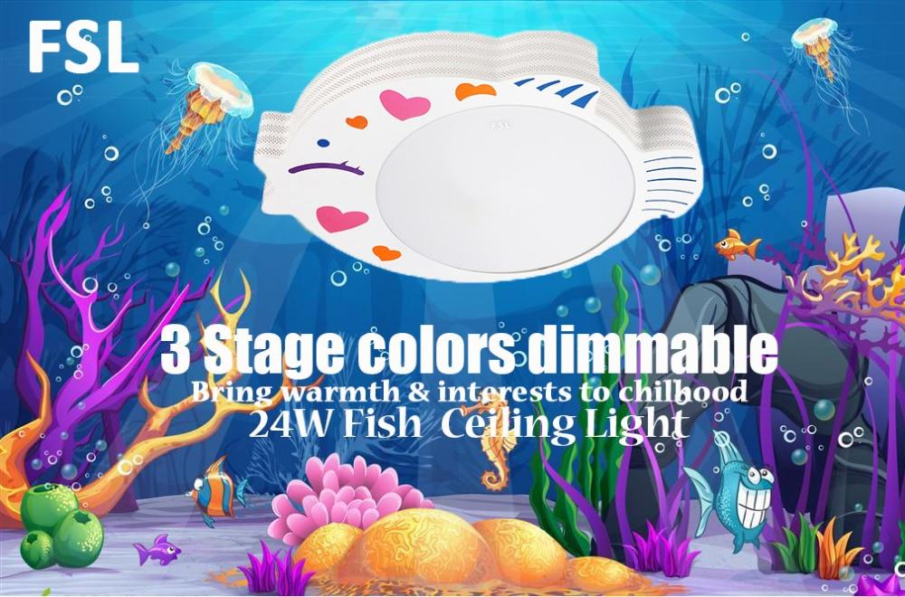FSL 24W kreativni ribe u obliku akril LED stropno svjetlo 3 boja - Unutarnja rasvjeta - Foto 2