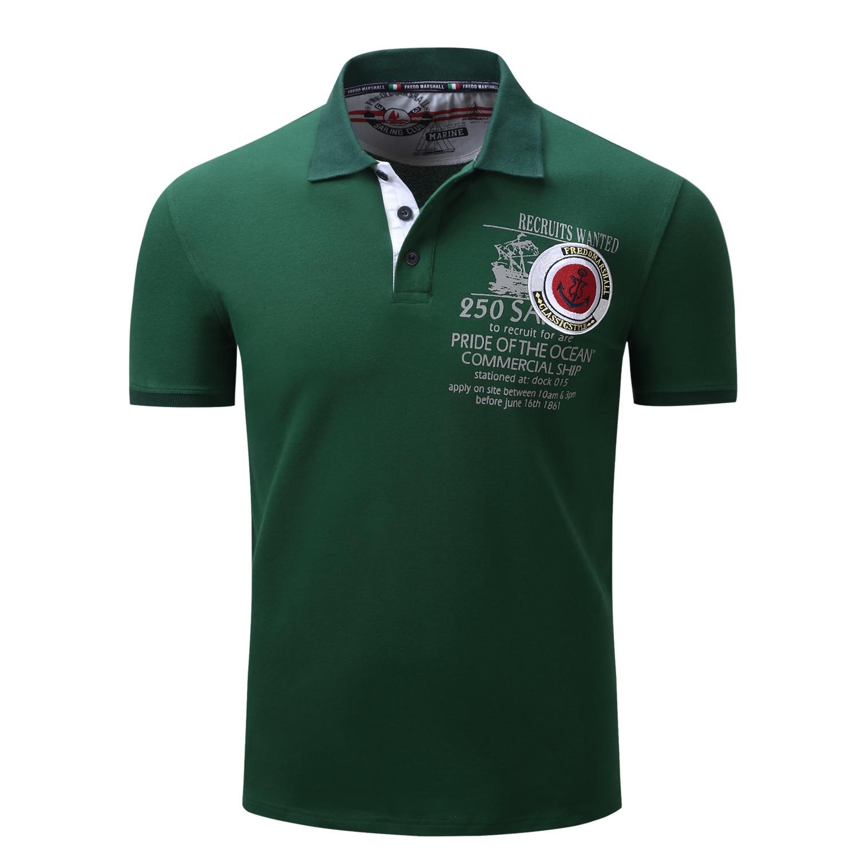 Зеленый Для мужчин большой Размеры Поло рубашка летние шорты из хлопка с длинными рукавами Для мужчин поло модные Бизнес Повседневное футб...