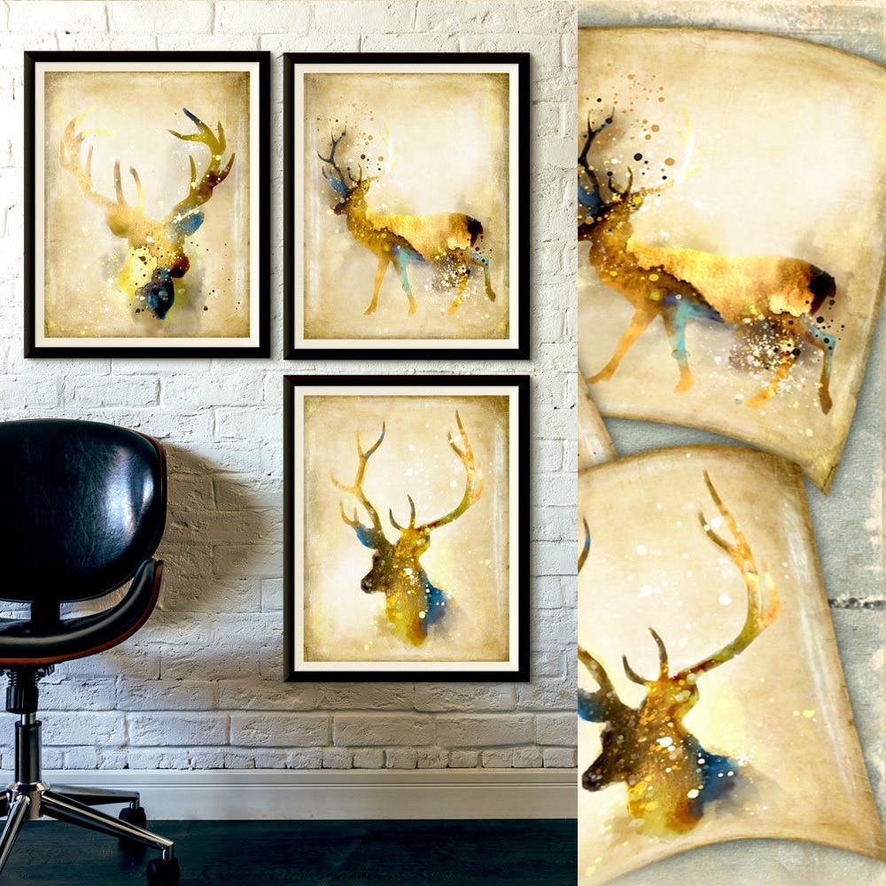 Deer & Dear giclee printed canvas art 16*20 3 in 1 unframed ...