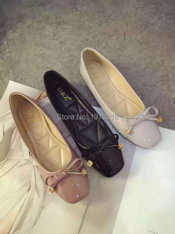 ФОТО 2016 famous brand square toe Flats ladies shoes for driving,Nude/Black/Grey Patent leather bow women shoes comfort for walking