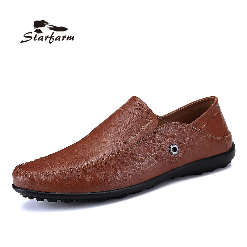 STARFARM Handmade Men Flats Shoes Soft Leather Men Loafers Weaving Casual Driving Shoes Classical Moccasins For Men high quality genuine leather men shoes lace up casual shoes handmade driving shoes flats loafers for men oxfords shoes