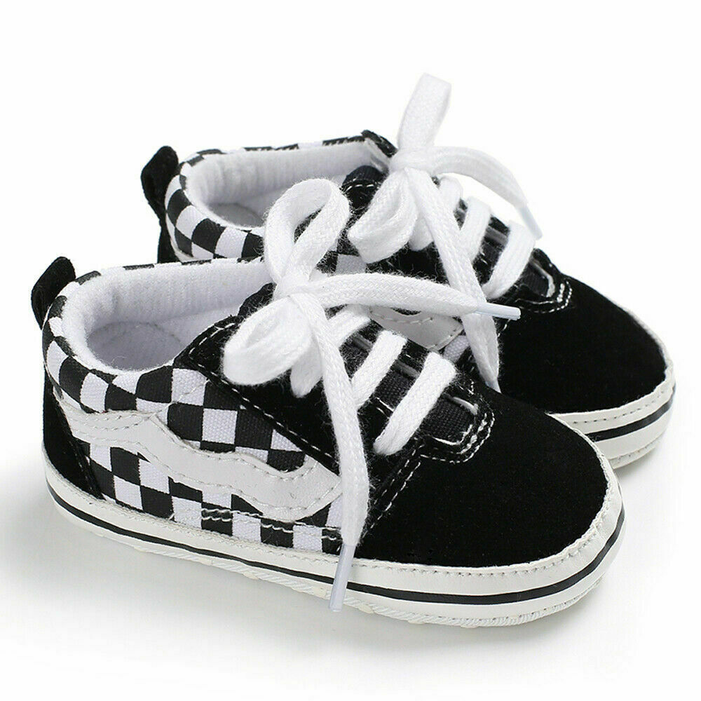 2019 Cute Toddler Kids Canvas Plaid Sneakers Baby Boy Girl Soft Sole Crib First Walker Shoes Anti-slip Lovely 0-18Months
