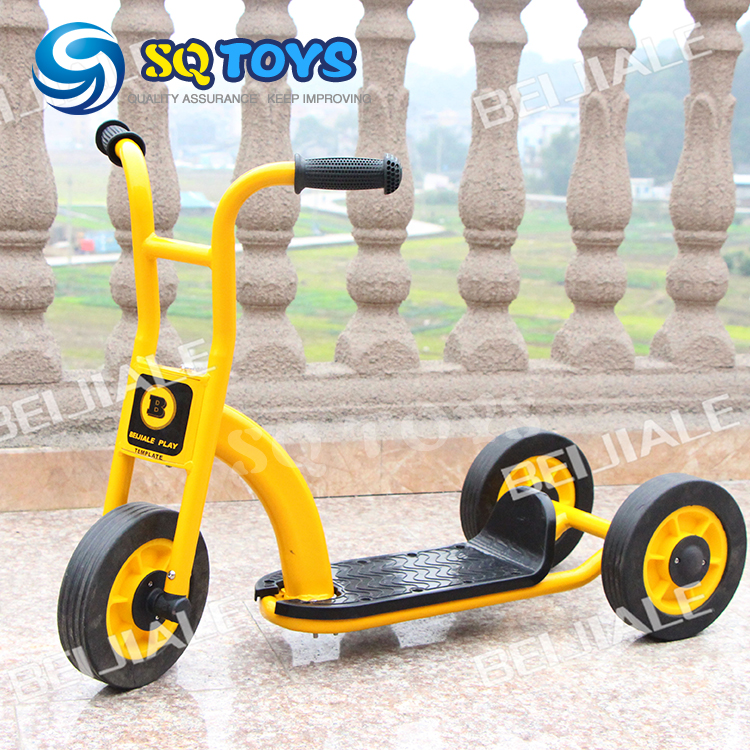 ФОТО Wholesale 5 Sets Indoor and Outdoor Yellow Kids Tricycle New Style Fitness Three Wheels Pedal for Two Children  Baby Scooter