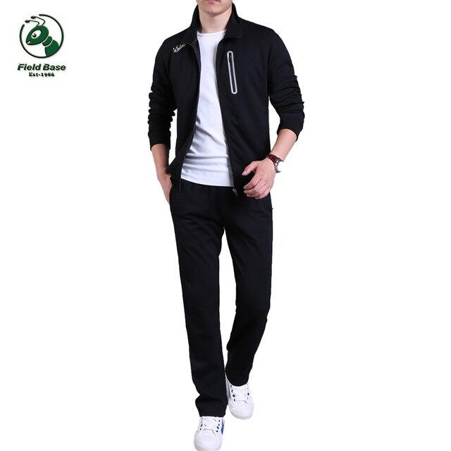 eaf480920265 Campo set Tute Sportive di Marca Imposta Giacca e Pantaloni uomo Base  Sporting Suit Abbigliamento Per