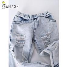 weLaken Fashion Boys Girls Big Hole Jeans Summer Apparel Good Quality Children's Trouser Kids Denim Pants Outerwear 2017 New