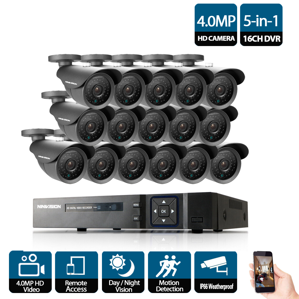 Image 2 - 16CH AHD NVR 5mp 4mp 3G DVR Kit CCTV Video surveillance System 16 X 4.0MP Indoor Outdoor Security Camera set 16 channel kits-in Surveillance System from Security & Protection