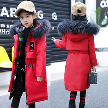 5 16 سنوات الأطفال فتاة أسفل سترة الشتاء سميكة الدافئة معطف طويل الراكون الفراء مقنعين الاطفال ملابس خارجية يمكن ارتداء الجانبين