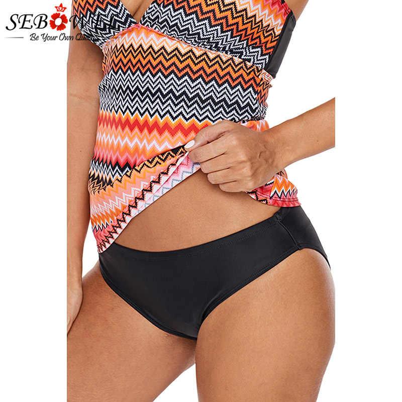 SEBOWEL женский черный полный охват спины Бикини Низ черные купальные трусики купальники для купания пляжные шорты купальник плюс размер 2019