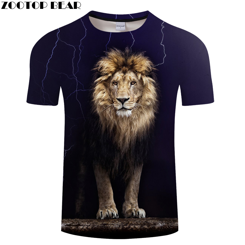 Lion 3D Animal tshirts Men   t     shirt   Casual   t  -  shirt   Funny Tee Summer Top Short Sleeve Camiseta Streatwear 2018 DropShip ZOOTOPBEAR
