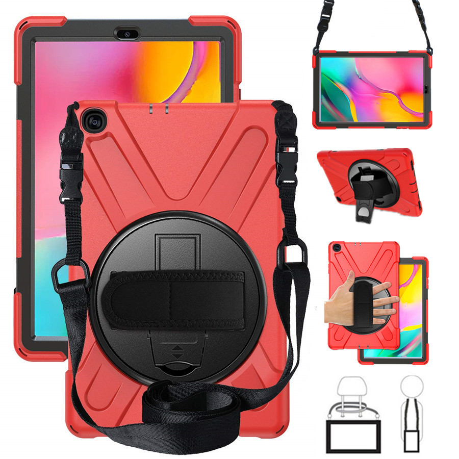 Tab A 10.1 T510 Heavy Duty Rugged Shockproof Case 360 Rotate Kickstand/Hand+Neck Strap For Samsung Tab A 10.1 SM-T510/T515 2019