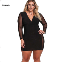 TUHAO Plus Size Black Dress XXXL 2017 Autumn Winter Sexy Club Dresses Long Sleeve Womens Large