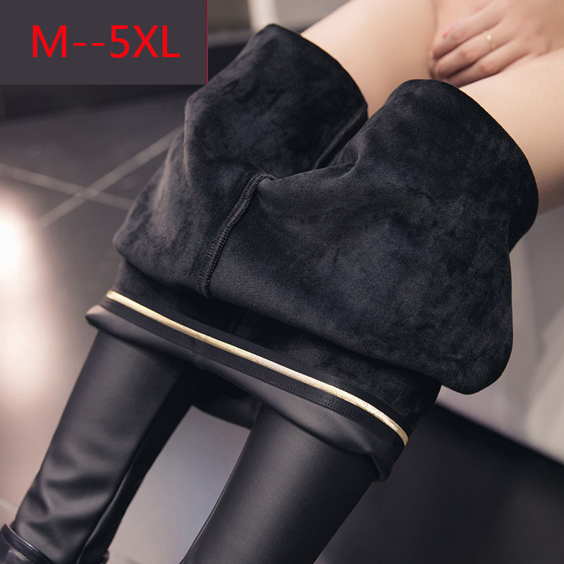 Women Autumn Faux Leather Black Leggings PU Leather Sexy Thick Warm Female Leggings Slim Long Pants Ladies Sexy High Waist
