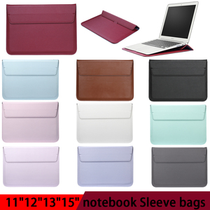 Image 1 - Leather Laptop Sleeve Bag For Macbook Air PRO 13 Case 11 12 15 Touch Bar Notebook PU Leather Case Ultrabook Carry Bag