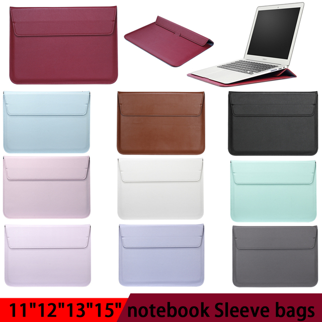 Leather Laptop Sleeve Bag For Macbook Air PRO 13 Case 11 12 15 Touch Bar Notebook PU Leather Case Ultrabook Carry Bag