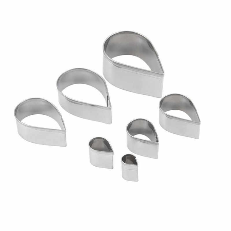 أداة تقطيع الكعك من أوستن روز 7 قطعة من الفولاذ المقاوم للصدأ على شكل قطرة الماء قوالب على شكل زهرة الفوندان إستنسل البتلة H858