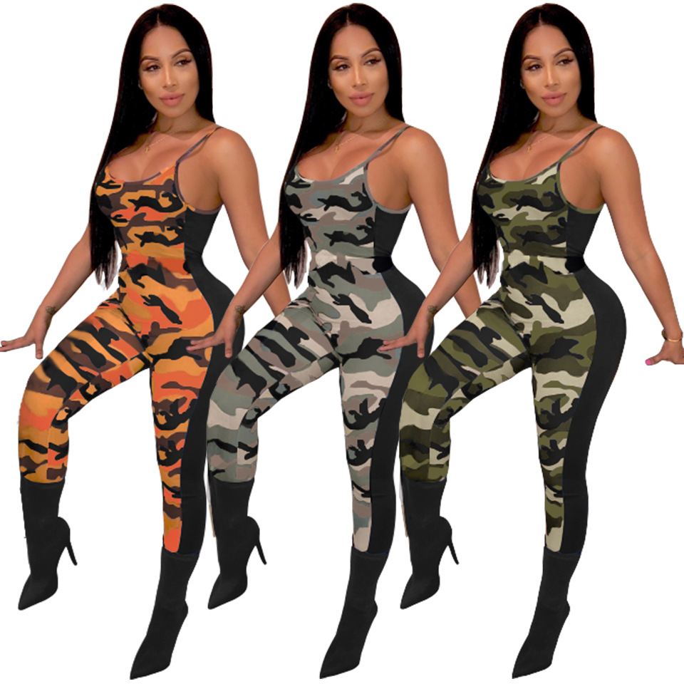 Sexy Strap Backless Off Shoulder Overalls Jumpsuits Fashion Women Splice Camouflage Slim Bodycon Long Pants Summer Skinny Romper