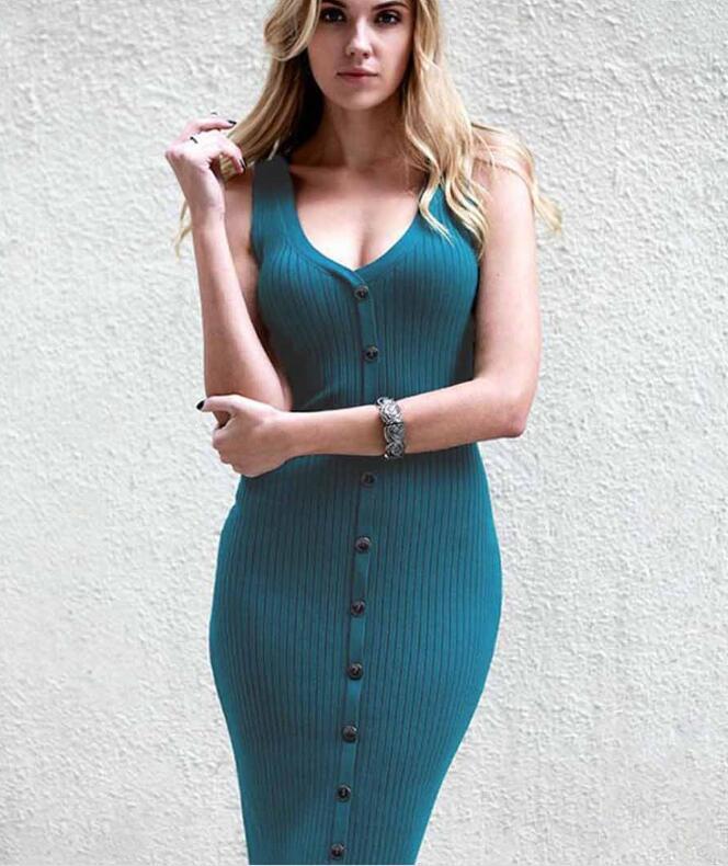 Women Sexy Spaghetti Strap V Neck button Summer Dress 2018 Ladies Elastic Bodycon sundress Elegant daily dess female vestidos