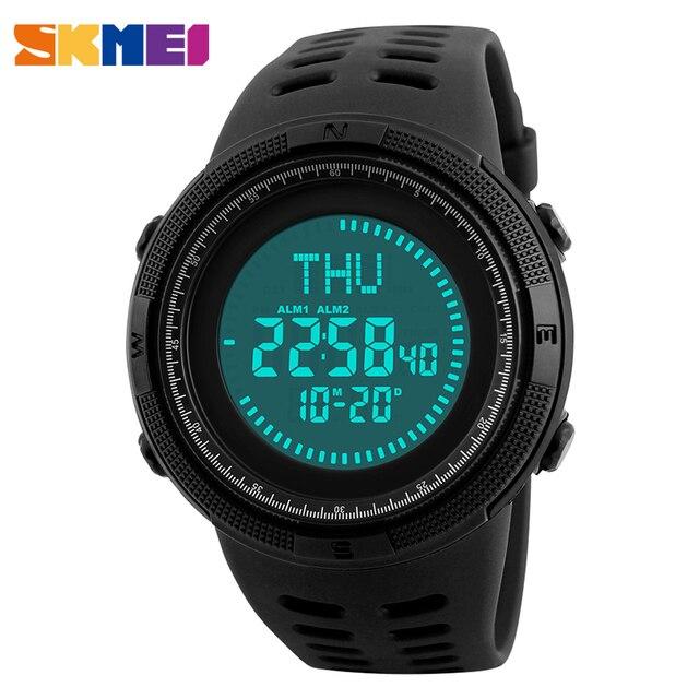 cd8ec2432de4 Skmei erkek spor saat Dijital LED Saatler 3 Alarm Dünya Zaman 50 M Su  Geçirmez Erkek Saat Kol Saatleri Relogio Masculino reloj 1254