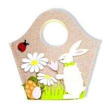 Пасхальный кролик сумка холщовая Праздничная сумка Праздничная ткань сумка кролик узор подарочные сумки