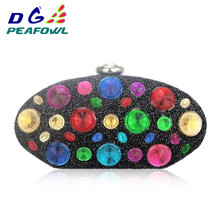Custom Colorful Crystal Oval Women Toiletry Bag Clutch Wedding Evening PVC Solid Wallets Femme Hasp Diamond Handbags Package colorful metallic crystal striped women cell phone wallet silicone toiletry bangkok clutch bag dinner wedding dress evening bag