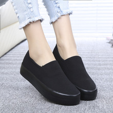 2016 new breathable canvas women shoes youth fashion heavy-bottomed shallow mouth female shoes British style