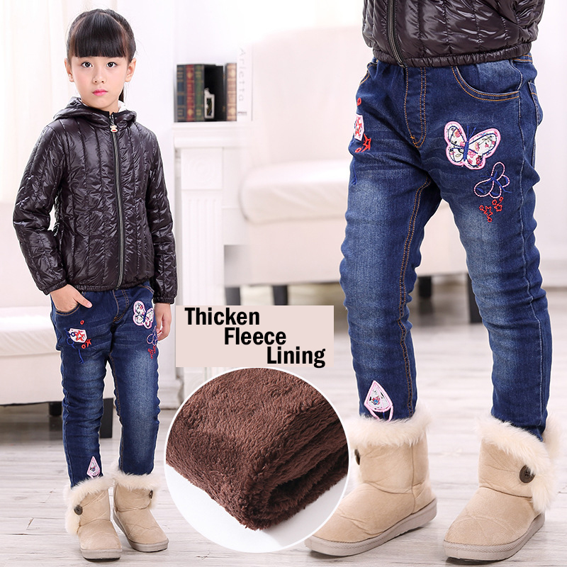 Thicken Winter Jeans for Girl Warm Denim Pants for Kids Butterfly Printed Girls Jeans High Quality for Height 100-150cm men s new biker oil printed jeans blue classic mens fashion brand high quality skinny patchwork denim for blue jeans man