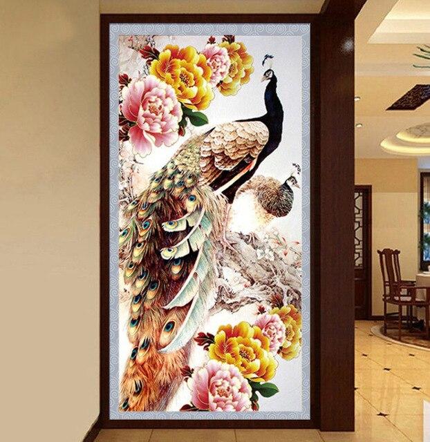 % 30*55 cm DIY 5D Diamante Pintura do Ponto da Cruz Do Bordado Do peacock Flor Needlework Mosaico Diamante do Ponto da Cruz(China)