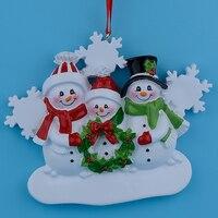 Großhandel Harz Schneemann Familie 3 Weihnachtsschmuck Personalisierte Geschenke, Können Schreiben Eigenen Namen Für Urlaub und Wohnkultur