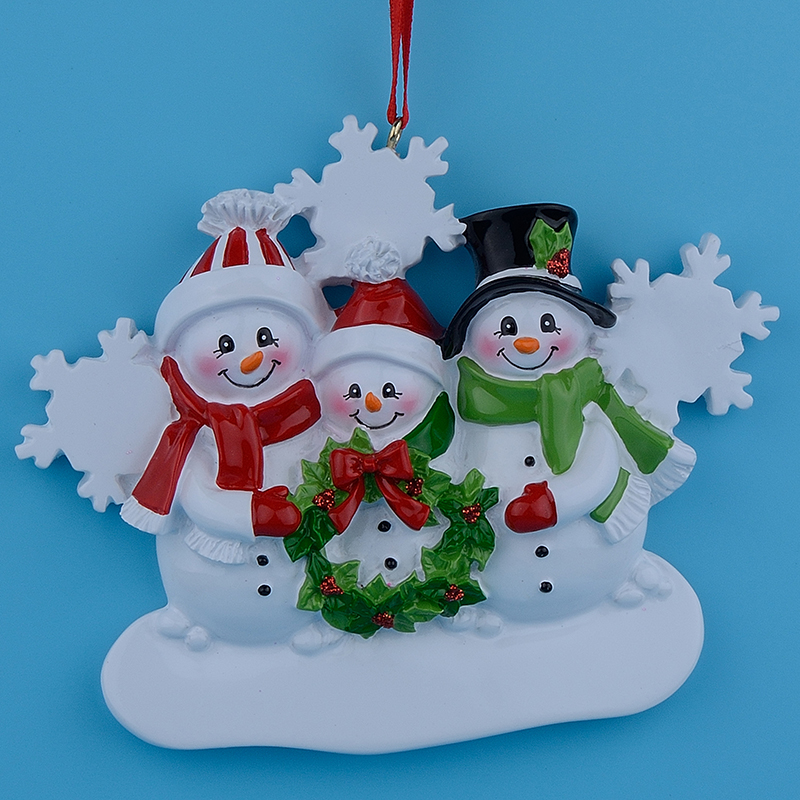Wholesale Resin Snowman Family Of 3 Christmas Ornaments