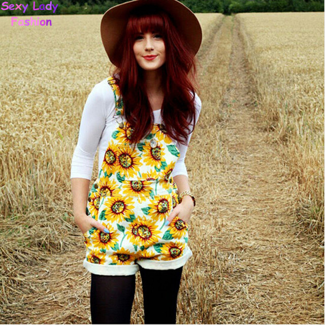 bae21dd57e7 Vintage American apparel AA Sunflower Print Rompers macacao combinaison  femme Playsuit Shorts feminino Jumpsuit Overalls