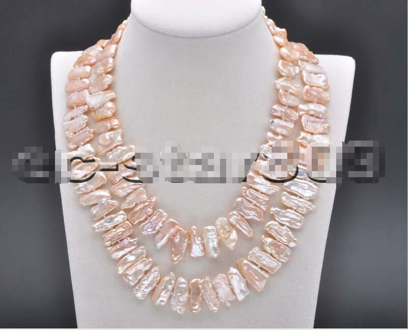 Free shipping hot sale Women Bridal Wedding Jewelry >>32 26mm Pink Dens Biwa Freshwater Pearl Necklace