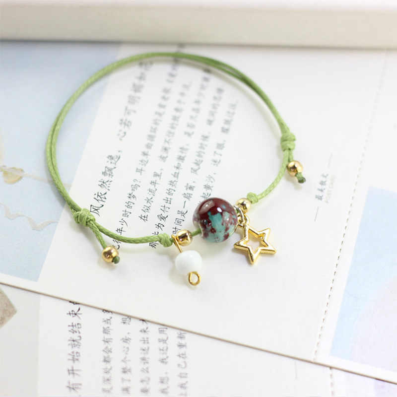 Women Men Charm Bracelets Gold Star Charm Pendant Cuff Bangles Ceramic Beads Weave Rope Wristhand Link Adjustable Chains Jewelry