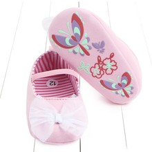 Baby Girls Bow Sweet Toddler Shoes UndropElastic Band Printe