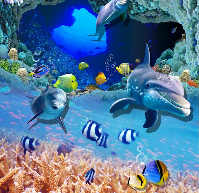 ФОТО vinyl flooring waterproof custom 3d photo wallpaper Ocean Underwater World 3d flooring kitchen wallpaper