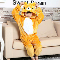New Rilakkuma Stitch Unicorn Dinosaur Children Kids Flannel Animal Pajamas Anime Cartoon Costumes Sleepwear Cosplay Onesies
