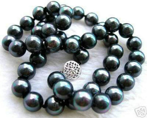 song voge gem nanJ0244 Fashion jewelry 8mm Black AB South Sea Shell Pearl Necklace 18