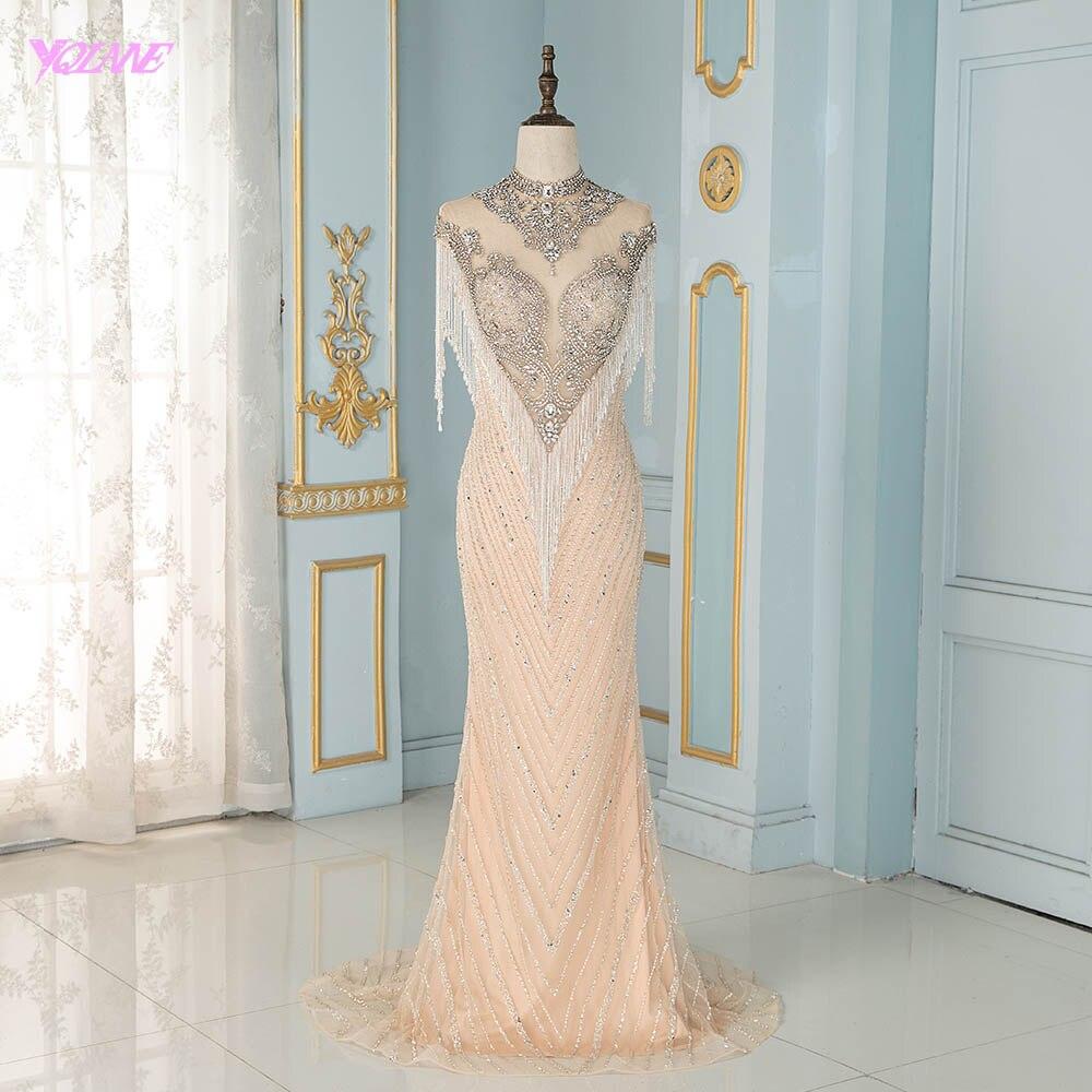 YQLNNE luxe col haut Nude robes de soirée cristaux d'argent perles gland sans manches sirène robes de soirée haut de gamme