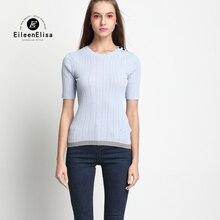 Womens Knitted Tops 2017 Sky Blue Shirt Women Short Sleeve Knitted Crop Top