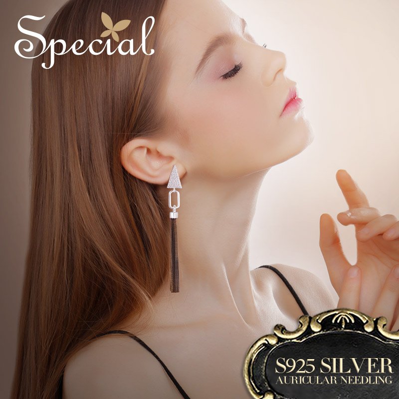 Special Fashion Gold Long Earrings 925 Sterling Silver Ear Pins Bohemian Tassel Earrings Jewelry Gifts for Women S2741E