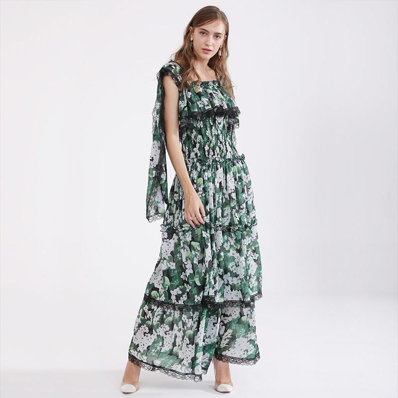 Lace Runway Ruffle Verde Mujeres Vestidos 2018 Diseño Impreso De Alta Calidad Maxi Corta Vestido Cascading Otoño Floral Manga wn1qUgFO