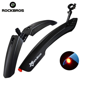ROCKBROS MTB Bicycle Fender With LED Rear Light Bike Wings Mudguard Cycling Mountain Bicycle Durable Fender Bicycle Accessories