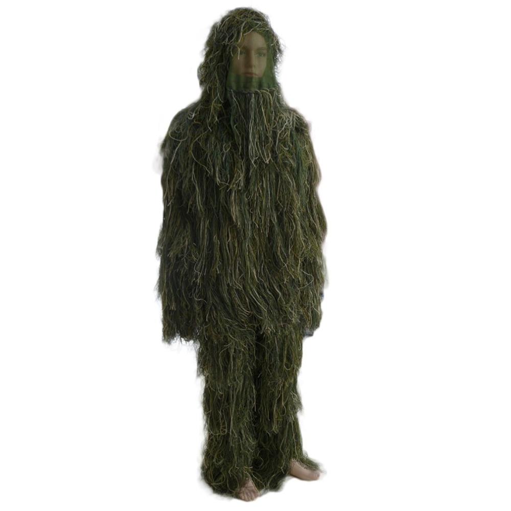 (Navire de russie) 3D universel Camouflage costumes vêtements en bois taille réglable Ghillie costume pour chasse armée militaire tactique