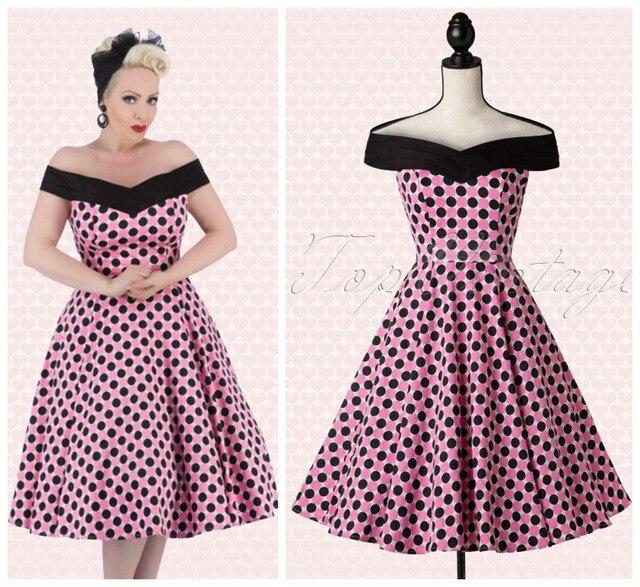 199235bb6fe04 women vintage 50s rose black polka dot boat neck midi swing dress plus size  4xl vesidos rockabilly pin up off shoulder dresses