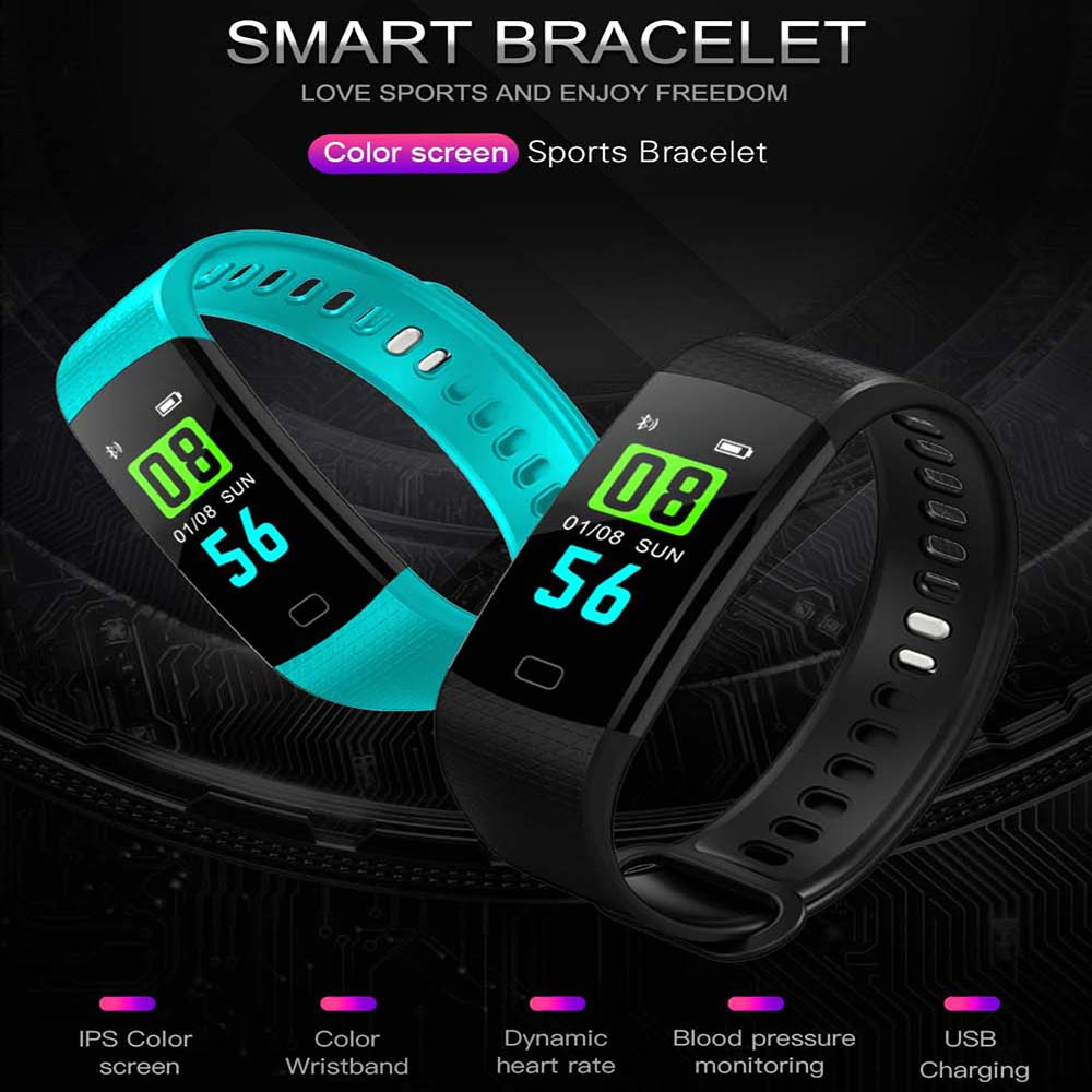 K1 Color Screen Smart Wristband Sports Bracelet Heart Rate Blood Pressure Monitor Fitness Tracker for Samsung Galaxy S9 Plus S9 цена и фото