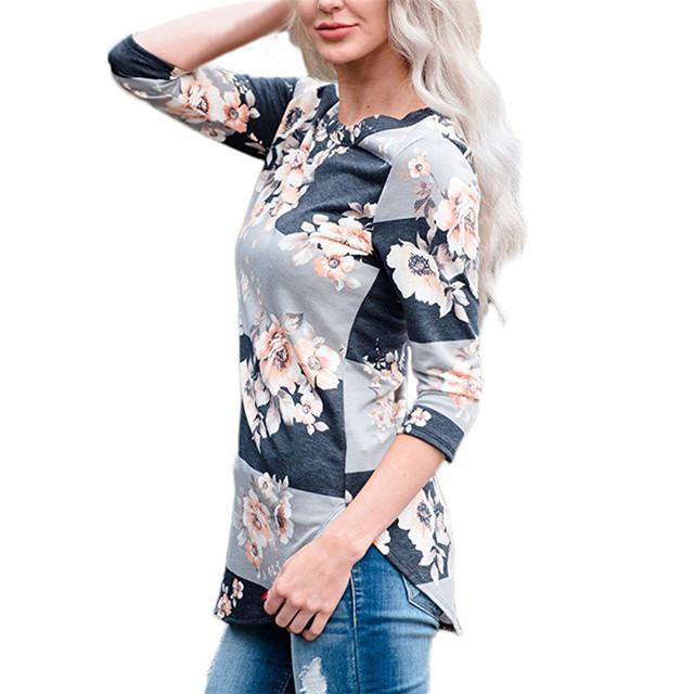 Vintage Floral Print Cotton Shirt Long Sleeve Loose Jumper Tops