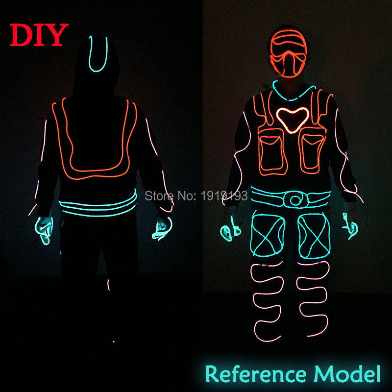 Lights & Lighting New Cool Led Strip Luminous Suits El Wire Glowing Light Suits Flashing Rave Costumes For Glow Party Decoration