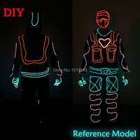 10Pieces Rave Costume Party Decor Led Strip Twinkle Suit Heart Superman Neon EL Cold Light Flashing Clothes for Cosplay Club