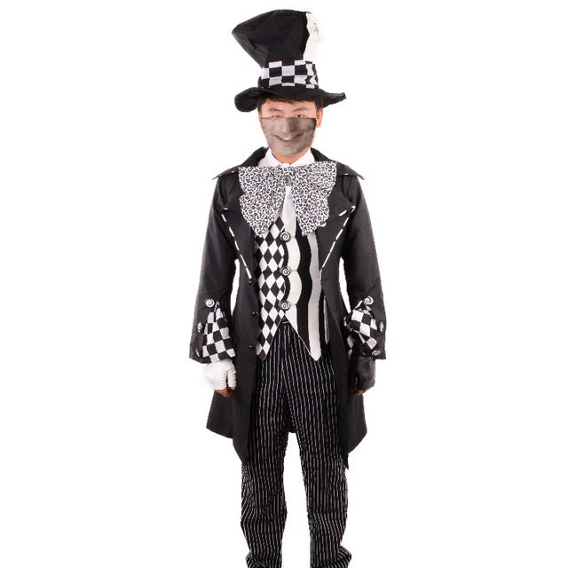 alice in wonderland costume adult black mad hatter costume cosplay party halloween costumes for men fantasia