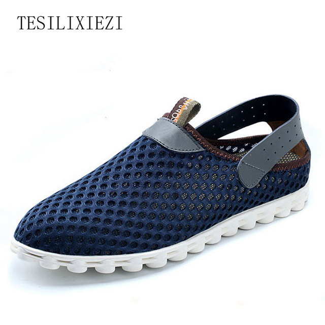 2017 New Summer Men Breathable Network Super Light Casual Shoes Air Mesh Shoes Slip On Male Fashion Flats Loafer Plus Size
